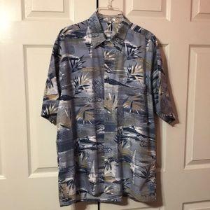 Pierre Cardin Mens Blue Tropical Hawaiian Shirt L